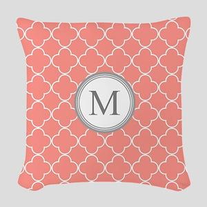 Coral Quatrefoil Monogram Woven Throw Pillow