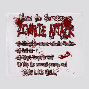 Zombie Attack Survival Throw Blanket