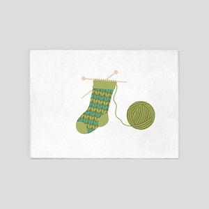 Knit Stocking Needles Yarn 5'x7'Area Rug