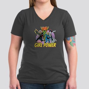 Marvel Girl Power Women's V-Neck Dark T-Shirt