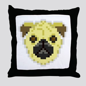 Pixel Pug Throw Pillow