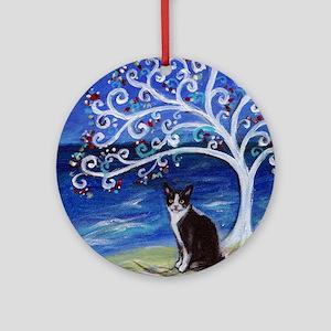 Tuxedo Cat Tree of Life Ornament (Round)