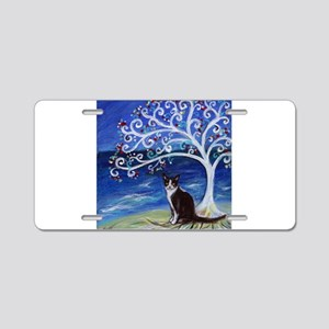 Tuxedo Cat Tree of Life Aluminum License Plate
