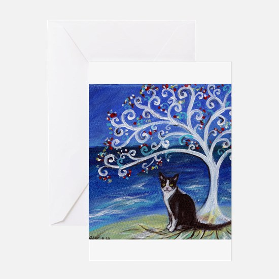 Tuxedo Cat Tree of Life Greeting Cards