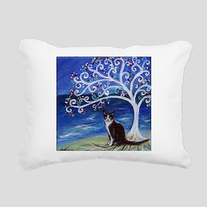 Tuxedo Cat Tree of Life Rectangular Canvas Pillow