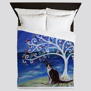 Tuxedo Cat Tree of Life Queen Duvet