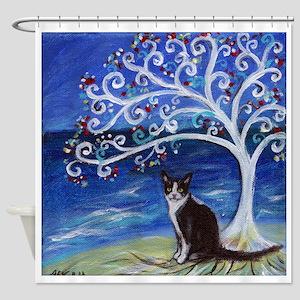 Tuxedo Cat Tree of Life Shower Curtain