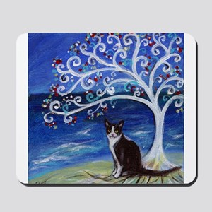 Tuxedo Cat Tree of Life Mousepad