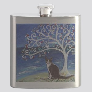 Tuxedo Cat Tree of Life Flask