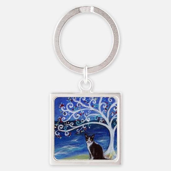 Tuxedo Cat Tree of Life Keychains
