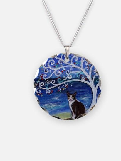 Tuxedo Cat Tree of Life Necklace