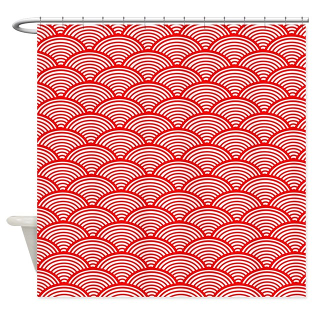 Japanese Wave Pattern Red And White Shower Curtain by Walela