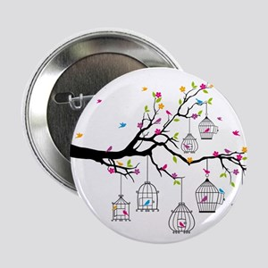 "tree branch with birds and birdcages 2.25"" Button"