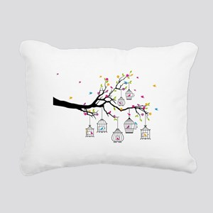 tree branch with birds and birdcages Rectangular C