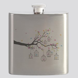 tree branch with birds and birdcages Flask