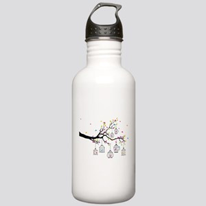 tree branch with birds and birdcages Water Bottle