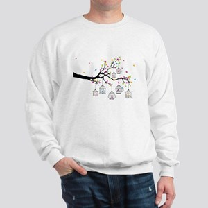 tree branch with birds and birdcages Sweatshirt