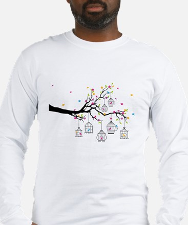 tree branch with birds and birdcages Long Sleeve T