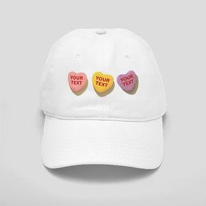 3 Candy Hearts CUSTOM TEXT Baseball Cap