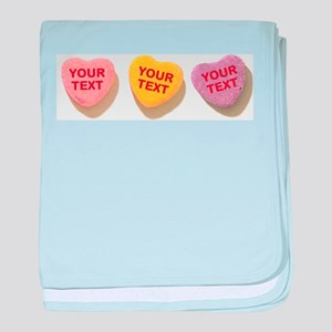 3 Candy Hearts CUSTOM TEXT baby blanket
