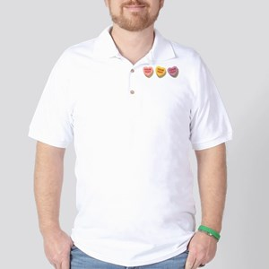 3 Candy Hearts CUSTOM TEXT Golf Shirt