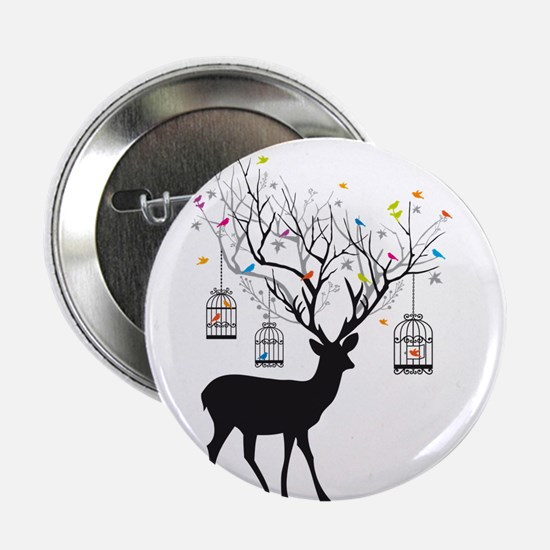 """Deer with birds and birdcages 2.25"""" Button"""