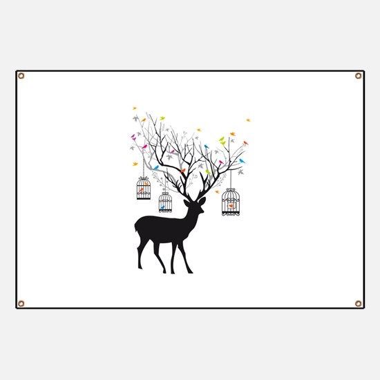 Deer with birds and birdcages Banner