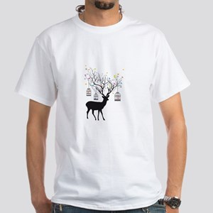 Deer with birds and birdcages T-Shirt