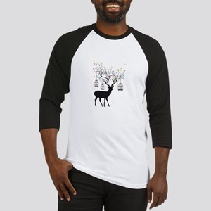Deer with birds and birdcages Baseball Jersey