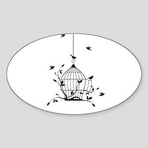 Free birds with open birdcage Sticker