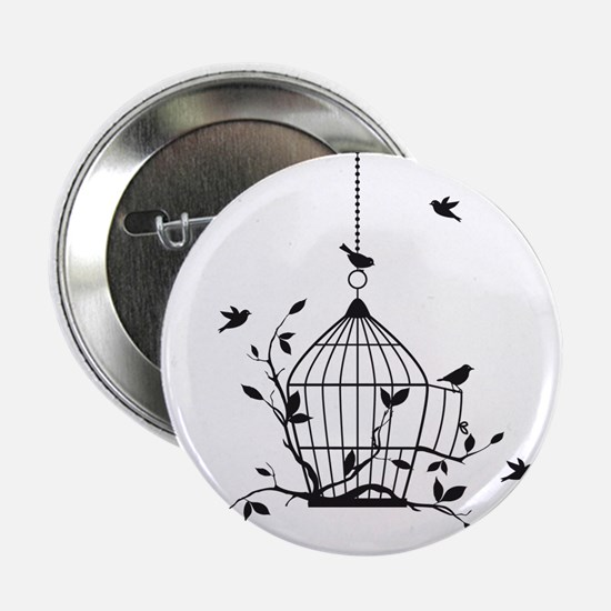 "Free birds with open birdcage 2.25"" Button"