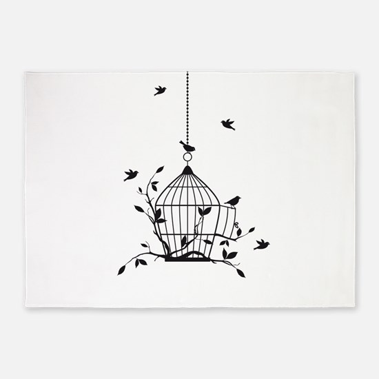 Free birds with open birdcage 5'x7'Area Rug
