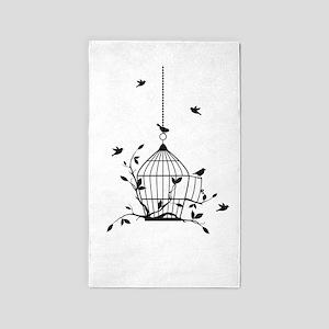 Free birds with open birdcage 3'x5' Area Rug