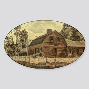 vintage rustic country red barn Sticker (Oval)