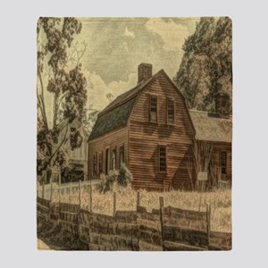 vintage rustic country red barn Throw Blanket