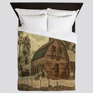 vintage rustic country red barn Queen Duvet