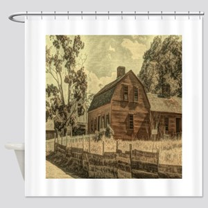 vintage rustic country red barn Shower Curtain