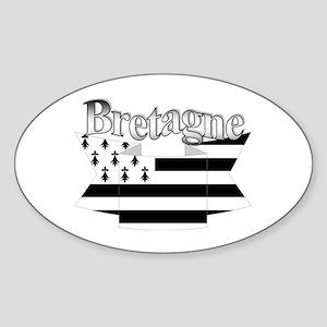 Bretagne Brittany flag Oval Sticker