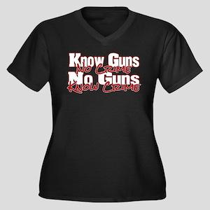 No Guns Women's Plus Size V-Neck Dark T-Shirt