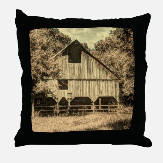vintage rustic country barn house Throw Pillow