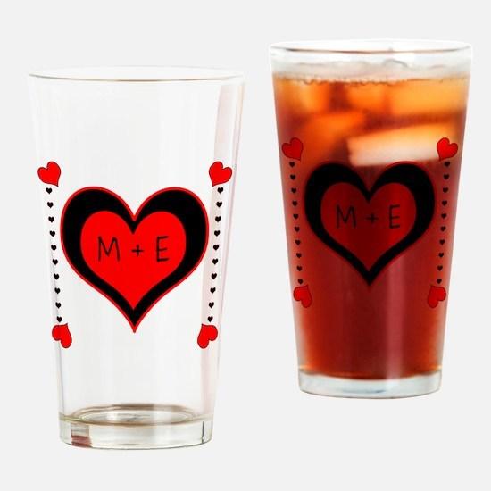 Cascading Hearts Monogram Drinking Glass