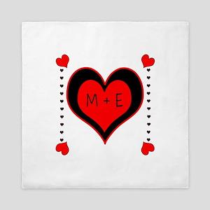 Cascading Hearts Monogram Queen Duvet
