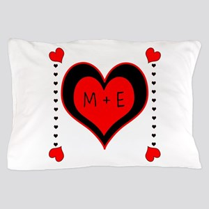Cascading Hearts Monogram Pillow Case