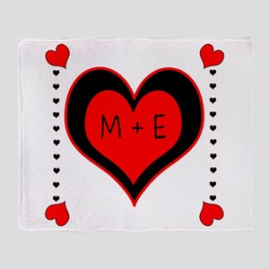 Cascading Hearts Monogram Throw Blanket
