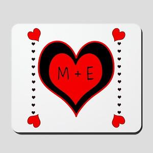 Cascading Hearts Monogram Mousepad