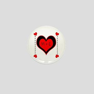 Cascading Hearts Monogram Mini Button