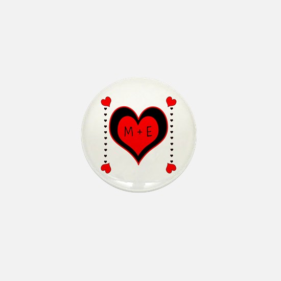 Cascading Hearts Monogram Mini Button