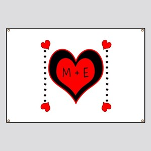Cascading Hearts Monogram Banner