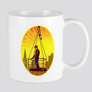 Construction Worker Platform Retro Mugs