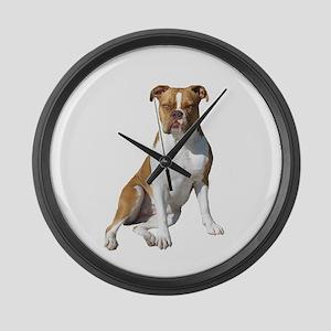 Am Bulldog 2 (Brn-W) Large Wall Clock